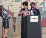 Toxies Hostess Adriana Caro, Dioxin (Alejandro Sandoval) and Toxies Emcee Cecil Corbin-Mark of WE ACT for Environmental Justice.