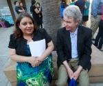 PSR-LA Executive Director Martha Dina Arguello with PSR-LA members.