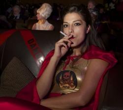 HRF smolders in her seat